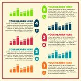 Infographicselementen - stappen en lijngrafiek Stock Fotografie