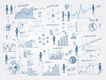 Infographicselementen van de krabbelbedrijfseconomie royalty-vrije illustratie