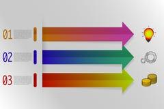 Infographicsen för tre moment med färgrika pilar i origami utformar vektor illustrationer