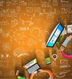 Infographicsgroepswerk met de achtergrond van de Bedrijfskrabbelsschets: Stock Fotografie