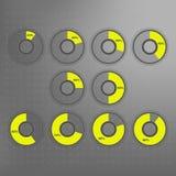 InfographicsInfographics vektor: isolerade 10%, 20%, 25%, 30%, 40%, 50%, 60%, 70%, 80%, 90% guling och grå färgcirkeldiagram Royaltyfri Fotografi