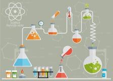 Infographicslägenhet för medicinskt laboratorium Arkivfoto