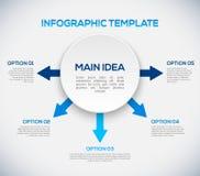 Infographicsmalplaatje met pijlen en 3D cirkel. Stock Afbeeldingen