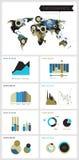 Infographicsmalplaatje met veelhoekige wereldkaart Royalty-vrije Stock Afbeeldingen