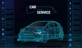Infographicsontwerp van de auto autodienst 3D veelhoekige auto stock illustratie