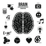 Infographicsuppsättning för mänsklig hjärna, enkel stil Royaltyfri Bild