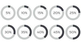 Infographicsvector: 5%, 10%, 15%, 20%, 25%, 30%, 35%, 40%, 45%, 50% cirkeldiagrammen Stock Afbeelding