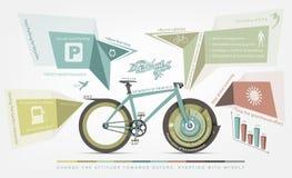 Infographicsvoordelen van fietsgebruik voor mensen Stock Afbeeldingen