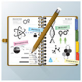 组织笔记本科学和教育Infographic设计Templ 库存照片