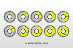 Infographicvector, 10, 20, 30, 40, 50, 25, 60, 70, 80, 90 cirkeldiagrammen Royalty-vrije Stock Afbeeldingen