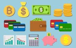 Infographnicelementen en pictogrammen voor financiën en zaken Stock Foto
