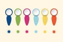 Infographs blancs de cercle avec les bords et les labels colorés Image stock