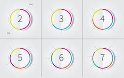 Infogrpahics circles set with color border vector illustration
