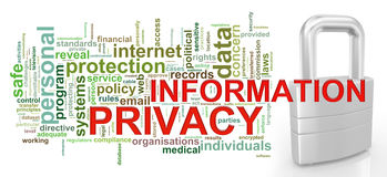 Infomation privacy word tags stock images