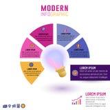 Inforgraphic πρότυπο λαμπών φωτός για τις έννοιες επιχειρησιακής ιδέας με 5 βήματα διανυσματική απεικόνιση