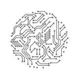Informática blanco y negro impresa de la forma de la casa de la placa de circuito, vector Imagen de archivo