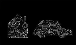 Informática blanco y negro impresa de las formas de la casa y del coche de la placa de circuito, vector stock de ilustración