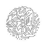 Informática blanco y negro impresa del símbolo de la forma redonda del bitcoin de la placa de circuito, vector Foto de archivo libre de regalías