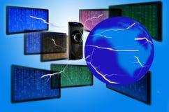 Informática e o globo fotos de stock royalty free