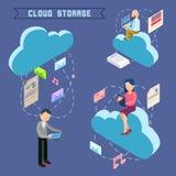 Informática isométrica del almacenamiento de la nube ilustración del vector