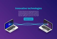 Informática y concepto modernos isométricos del establecimiento de una red Negocio de la tecnología de la nube del web Servicios  ilustración del vector