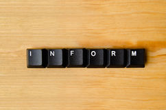 Inform word. With keyboard buttons royalty free stock photography