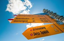 A informação assina o alvo à estação de Gornergrat imagem de stock