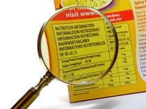 Informação da nutrição Imagem de Stock Royalty Free