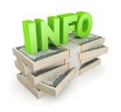 INFORMAÇÃO da palavra em uma pilha de dólares. Imagens de Stock