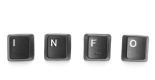 Informação da palavra formada de botões do teclado das letras. Imagem de Stock