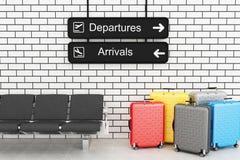 a informação da partida e da chegada do aeroporto 3d embarca com curso s Imagem de Stock
