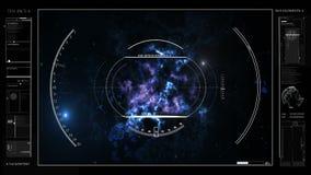 Informação de Digitas sobre o cosmos, o planeta, diagramas, holograma, gráficos HUD video estoque