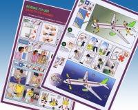 Informação de segurança da linha aérea - avião de passageiros de Boeing Fotografia de Stock Royalty Free