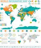 Informação de vetor colorida política do mapa do mundo gráfica Fotos de Stock