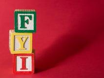Informação do FYI Fotos de Stock