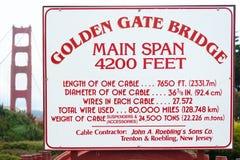 Informação do Golden Gate Fotografia de Stock