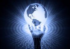 Informação mundial à mão Fotografia de Stock Royalty Free