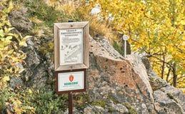 Informação na reserva natural norueguesa Imagens de Stock