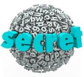 Informação secreto confidencial da bola secreta da esfera da palavra Foto de Stock