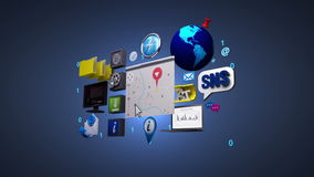 Informação, tecnologia social do serviço de rede dos meios Mapa da navegação ilustração stock