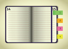 Información abierta del cuaderno de la violeta ilustración del vector