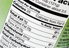 Información alimenticia Imagenes de archivo