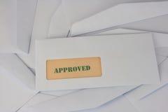 Información aprobada del sobre blanco Fotografía de archivo libre de regalías