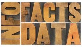 Información, datos, hechos en el tipo de madera foto de archivo