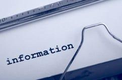 Información de la máquina de escribir Imágenes de archivo libres de regalías