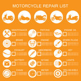 información de la pieza de la motocicleta Imágenes de archivo libres de regalías