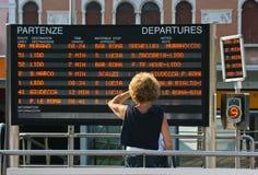 Información de la salida del tren Imágenes de archivo libres de regalías