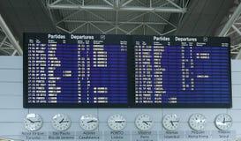 Información de la tarjeta de la salida del aeropuerto Fotografía de archivo libre de regalías