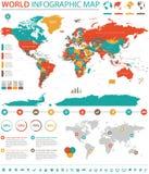Información de vector coloreada política del mapa del mundo gráfica libre illustration