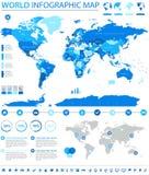 Información de vector coloreada política del mapa del mundo gráfica ilustración del vector